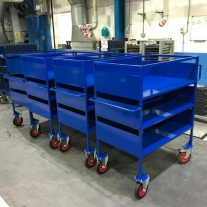 workholding trolleys powder coated blue